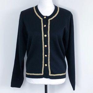 Talbots Vintage Wool Cardigan Embroidered Black M